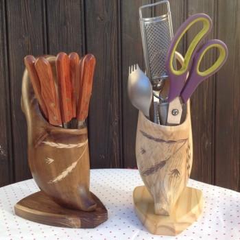 sabot porte couteau en bois